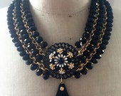 SALE Vintage Statement Necklace, Bib, Crystals, Rhinestone - Night at the Museum