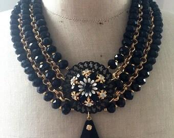 SALE Vintage Statement Necklace, Bib, Crystals, Rhinestone - Night at the Museum