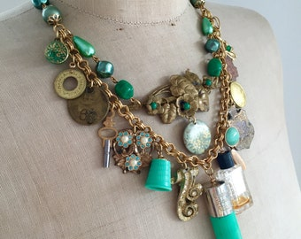 RESERVED Vintage Charm Necklace, Vanity, Perfume, Lipstick - Green