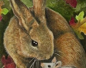 Bunny Rabbit and Mouse Art by Melody Lea Lamb ACEO Miniature Print