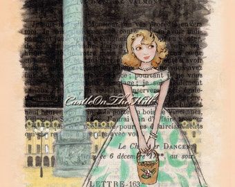 Paris, 1953 - Place Vendome - Lucie Wonders What The Night Will Hold... - 8 x 11.5 print