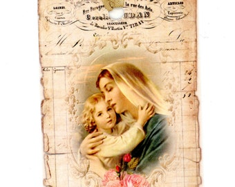 Christmas Gift Tags , Mother and Child Gift Tags , Madonna Tags , Religious Tags , Vintage Tags