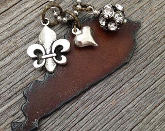 I Love KENTUCKY Rustic Recycled Metal Pendant Necklace - Heart Fleur de Lis Cowboy Boot Pickup Truck Horse Charm
