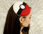 Pokemon Inspired Cocktail Hat, Pokeball, PIllbox Hat, Button Hat, Geek Hat, Cosplay Hat, Anime Kawaii Geek Girl Accessory Hat Ready to Ship
