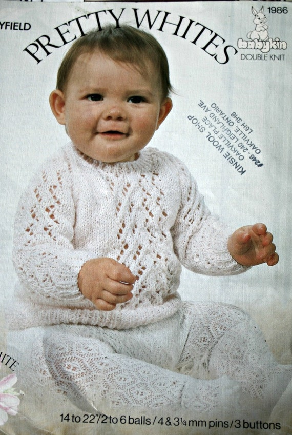 Hayfield Knitting Patterns For Babies : Baby Sweater Knitting Pattern Pretty Whites Hayfield 1986 DK
