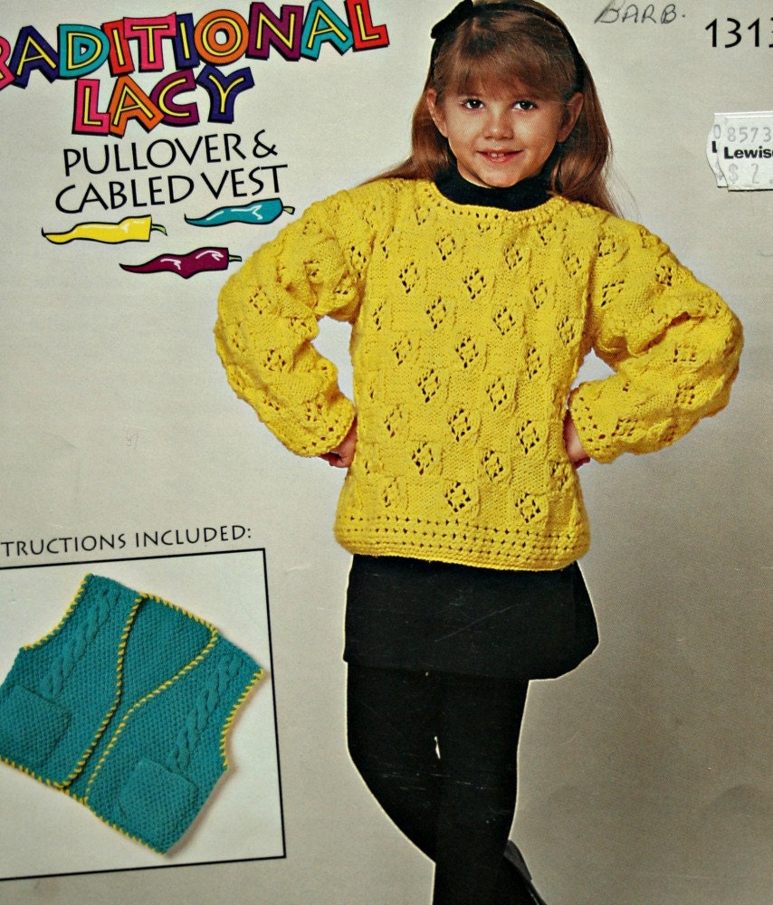Pullover Vest Knitting Pattern : Knitting pattern girls lacey pullover and cabled vest bernat