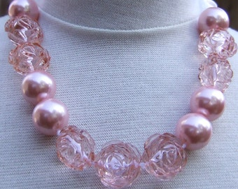Soft Pink Pearl & Rose Children's Chunky Bead Necklace ~ On Ribbon