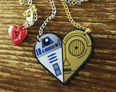 R2-D2 & C-3PO Friendship Heart Necklace Large - SINGLE