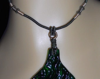 A MERMAID'S TAIL fused glass adjustable pendant necklace