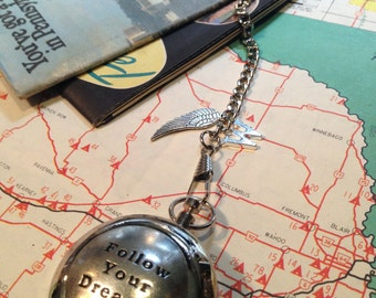 Compass on a Pocket Watch Chain - Working Compass - Follow Your Dreams