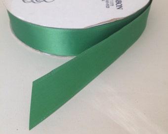 "Green Satin Ribbon (single faced) 1.5"" wide - 3 yards"