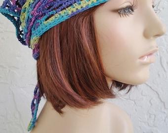 hand crochet bandana dorag women bandana men bandana dreadlock snood ~ gypsy spirit mesh ~   blue green lime purple  mix unisex cobasi
