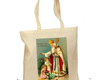 "Saint Nicholas Tote Bag - Christmas St. Nick Retro Dutch ""Groeten van St. Nikolaas"" Gift Canvas Vintage Fabric - 2 Sizes - Santa Tree Bag"