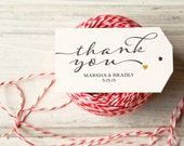 Thank You Wedding Favor Tags - Handmade Paper Tags - Vintage Thank You Design with your Names and Date - Add to Coffee Favors - Pack of 25