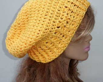 Slouchy beanie Silk wool cashmere Smooth baggy crochet Hat soft smooth sunshine yellow slouch