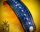Leather cuff bracelet- American Cowboy King Black and Blue Handcrafted for YOU in NYC by Freddie Matara