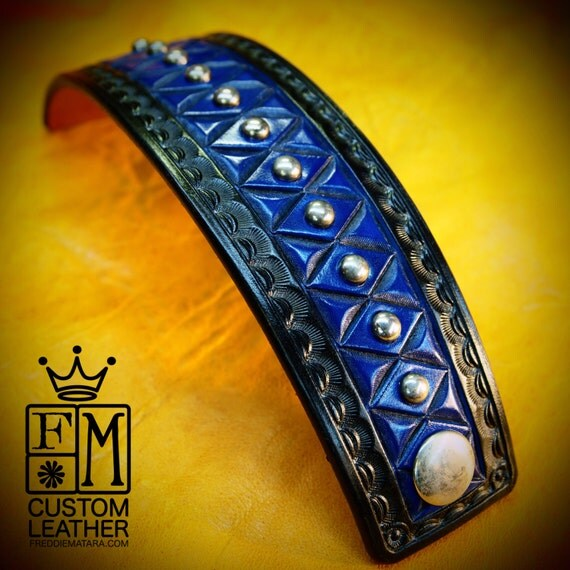 Leather cuff bracelet- American Cowboy King Black and Blue Handcrafted for YOU in USA by Freddie Matara