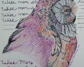 Mixed Media Illustration, Color Pencil Original Drawing, Quote, Wise Men Still Seek Him, Christian Art, Religious, Owl, Bird, Wildlife