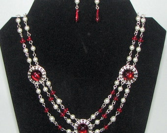 Ruby Cabochons on White a Pearl Renaissance Necklace with matching Earrings