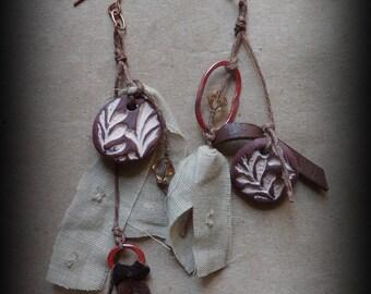 Boho Earrings, Handmade, Tribal, Clay, Original, Antique Copper