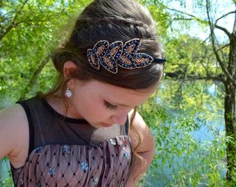 Goddess - Sparkling Black and Gold Leaves Crystal Beaded Leaf Headband Hair Accessory