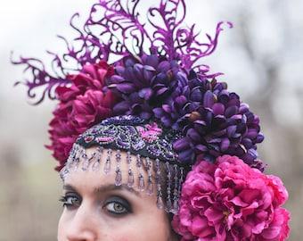 Plum and Fuschia Beaded Floral Headdress