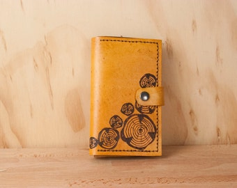 iPhone 6 Wallet Case - Leather iPhone 6 Plus Case in the Faux Bois Pattern with Wood Rounds - Anitque Tan