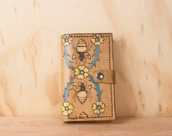 iPhone 6 Case Wallet Leather - Bee and Flower iPhone Case in the Melissa Pattern - Available for iPhone 6, 6+ and iPhone 5
