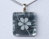 Handmade Glass Tile Black & White Flower Pendant