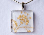 Handmade Glass Tile White & Gold Flower Pendant