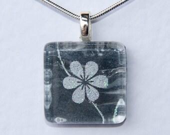 Handmade Glass Tile Black & White Flower Pendant