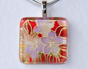 Handmade Glass Tile Japanese Washi Flowers Pendant