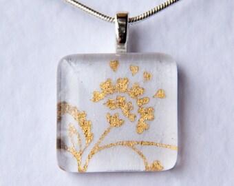 Handmade Glass Tile White & Gold Flower Pendant