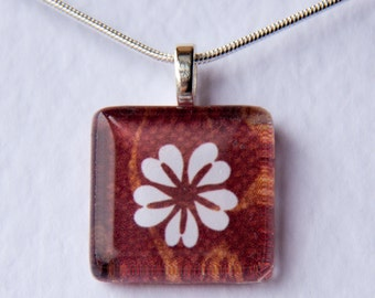 Handmade Glass Tile Brown & White Flower Pendant