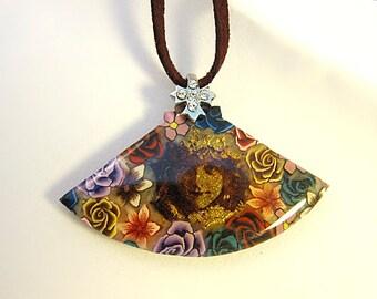 Lovely Victorian Girl Polymer Clay Necklace II Face Jewelry Pendant Choker Fan Lady Faux Suede Wearable Art