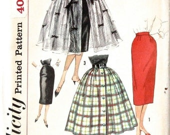 Vintage 1958 Uncut Misses Full and Pencil Slim Skirt Pattern - Simplicity 2609 Waist 27 Hip 37