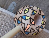 Neon Geometric Round Ball Tobacco Pipe Modern Smoking Pipe Wooden Pipe Woodburned Wooden Pipe Modern Boho Chic Pipe