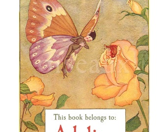 Personalized Bookplates - The Fairy & The Rose - Vintage Gift - Waldorf Library, Ex Libris