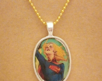 Supergirl recycled comic book pendant