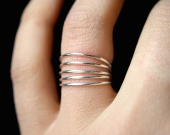 Connected Sterling Silver Stacking rings, Set of 5, skinny silver stacking rings, silver stacking ring set, silver stacking rings