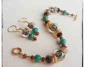 UNTAMED - Artisan Lampwork Glass Beads and 24K Vermeil Gold Bracelet and Earrings Set Ensemble