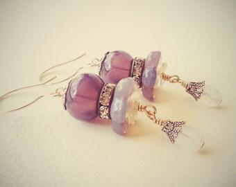 POURPRE - Artisan Lampwork Blown Hollow Glass Earrings