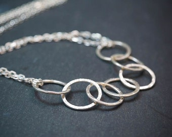 Silver Circle Necklace, Linked Circle Necklace, Gift for her