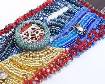 Bead Embroidered Cuff - Summer Time, Ocean, Beach, Leather, Beadwork, Seed Beads, Glass Bead Focal, Beach Bracelet