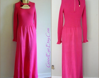 Svelte SWEATER Knit Maxi Dress Pink Stretch Small Dress Floor Length 1970s Size 4 6 8 Long Sleeve