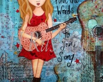 Country Music Decor,Tween Girls Art,Inspirational Print, Music Art, Guitar Art,( Blonde) Print Sizes 5x7 and 8x10