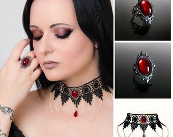 Gothic choker and ring set - SINISTRA Ruby red lace choker and matching Ruby red ornate filigree gothic ring