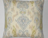 """2 Pillow Covers for 16"""" pillows pale blue and beige on cream color cotton  decorator fabric home decor throw"""