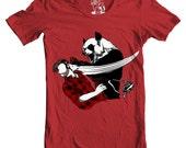Mens Panda Bitchslap, Men's Tee, Funny animal, graphic bear punch tee, Men Red Graphic T-Shirt, Printed in USA, Sizes S - 2XL