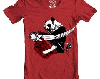 Mens Panda Bitchslap, Men's Tee, Funny animal, graphic bear punch tee, Men Red Graphic T-Shirt, Printed in USA, Sizes S - 2XL